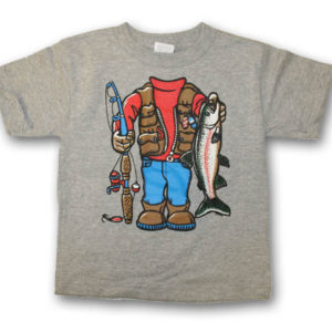 Headless FishermanScreen Print Kids T-Shirt