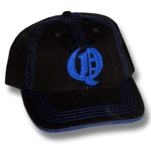 Q Distressed Black with Blue Trim Baseball Cap