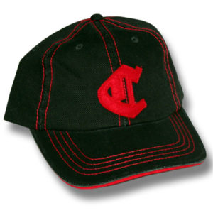C Distressed Black/Red Baseball Cap