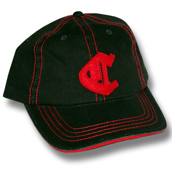 C Distressed Black/Red Baseball Cap