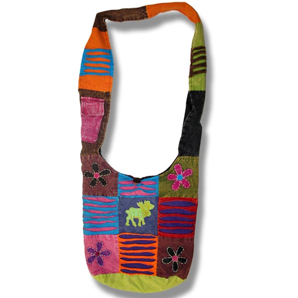 Shoulder bag 1 side print moose&flowers applique