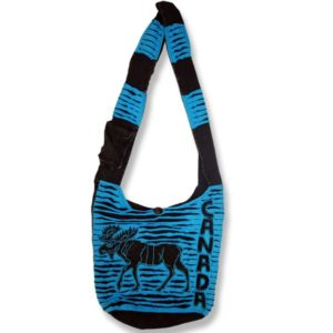 Shoulder bag 1 side print moose w/canada cutout