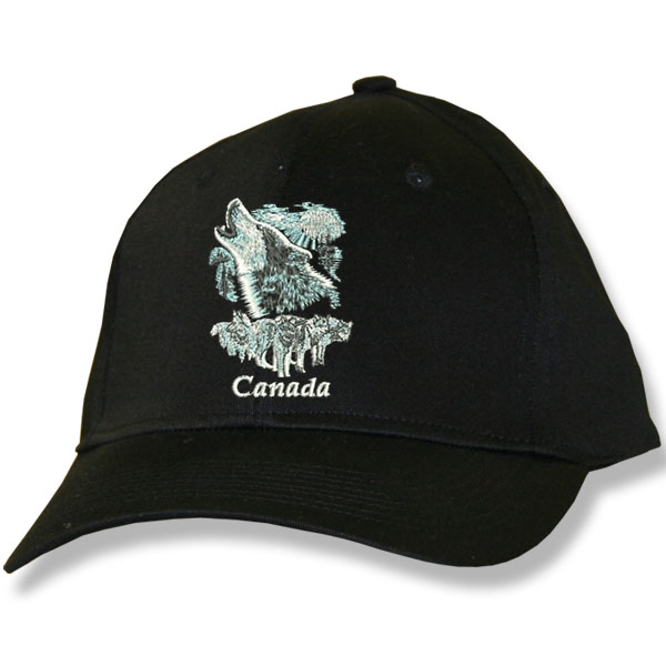 Quadratone Wolf  Black Baseball Cap