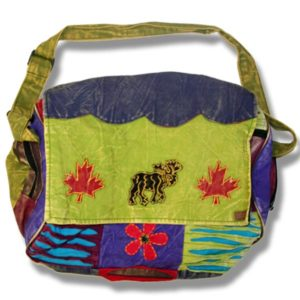 Roll Flap Bag w/moose & flowers