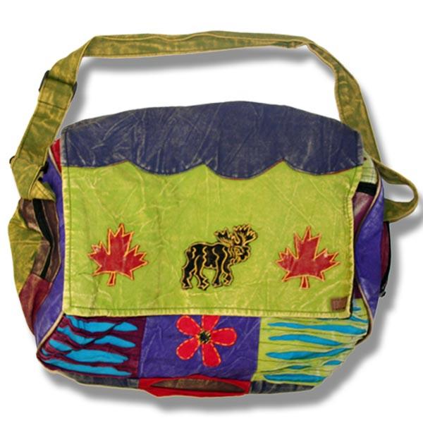 Roll Flap Bag w/moose & flowers