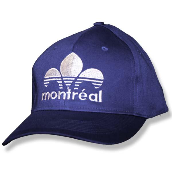 Montreal Striped Fleur de Lys Navy Fitted Baseball Cap
