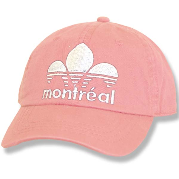 Montreal Striped Fleur de Lys Pink Fitted Baseball Cap