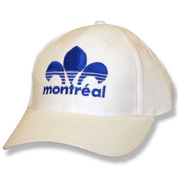 Montreal Striped Fleur de Lys White Twill Baseball Cap