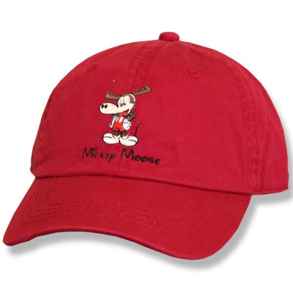 Mickey Moose Red Twill Baseball Cap