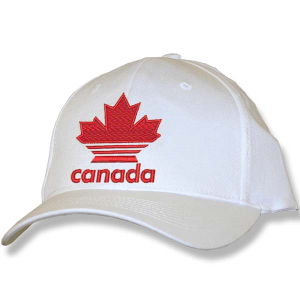 Canada Striped Maple Leaf White Baseball Cap