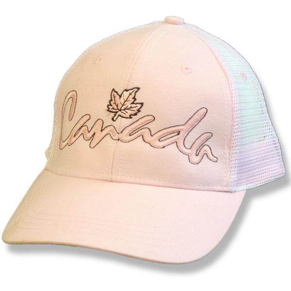 Canada Script Maple Leaf Pink Baseball Cap