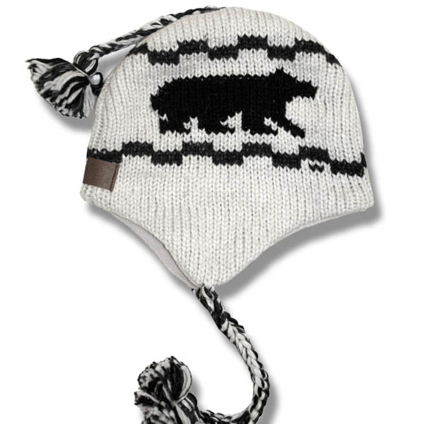Black Bear Off White Mix Toque