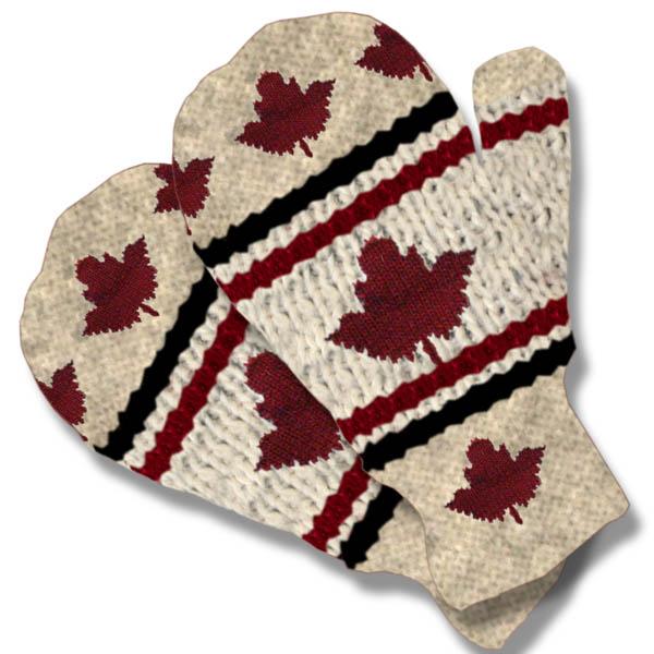 Maple Leaf Beige Mittens