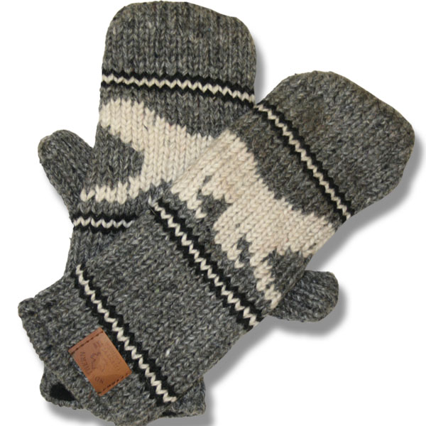 Polar Bear Charcoal Mittens