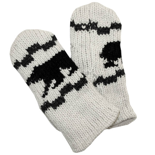 Black Bear Off White Mittens