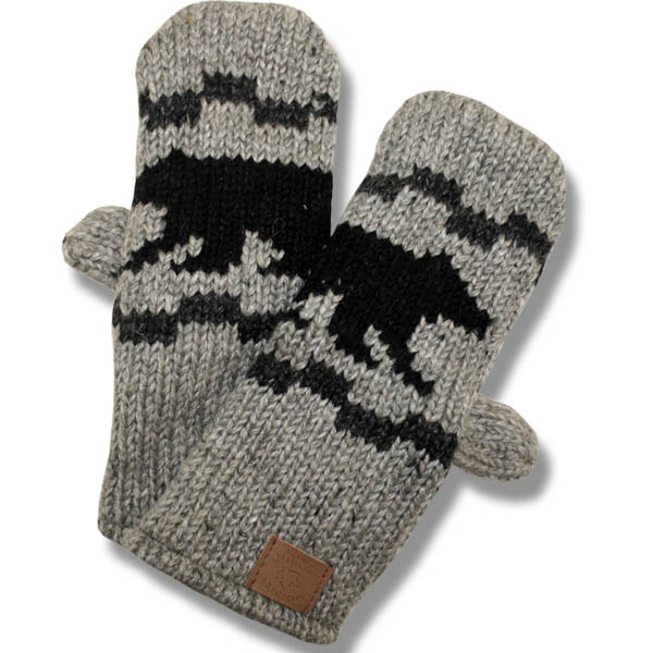 Black Bear Charcoal Mittens