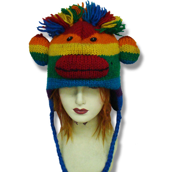 Monkey Head Rainbow Kids Tuque