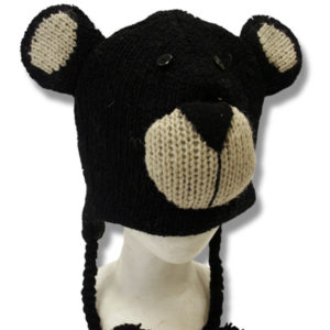 Black Bear Head Kids Tuque