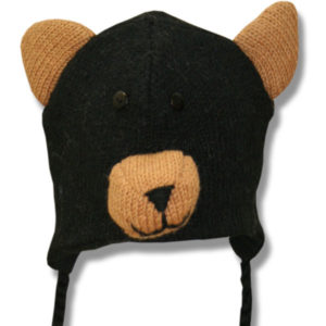 Black Bear Head Kids Tuque