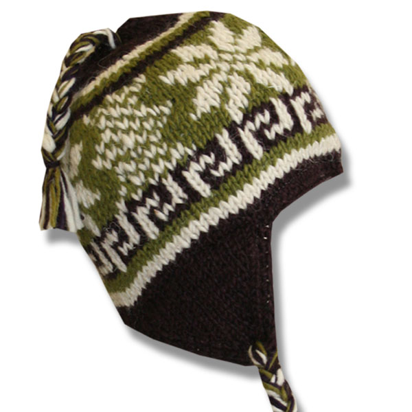 Brown Lime Mix Kids Wool Tuque