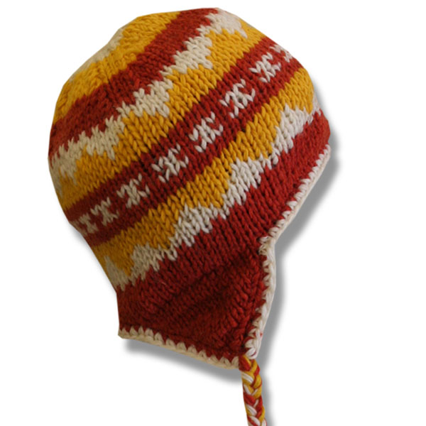 Orange Yellow Mix Kids Wool Tuque