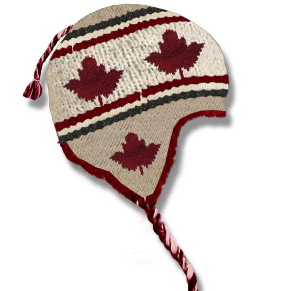 Maple Leaf Beige Kids Wool Tuque