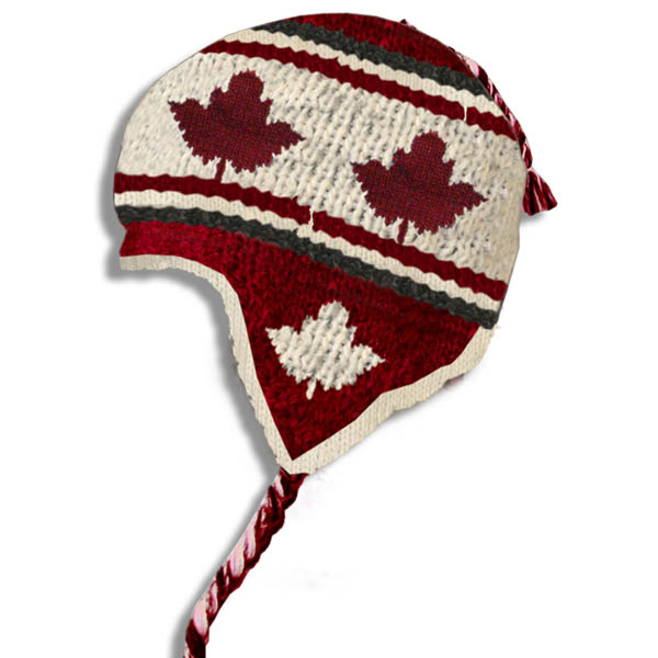 Maple Leaf Burgundy Kids Wool Tuque