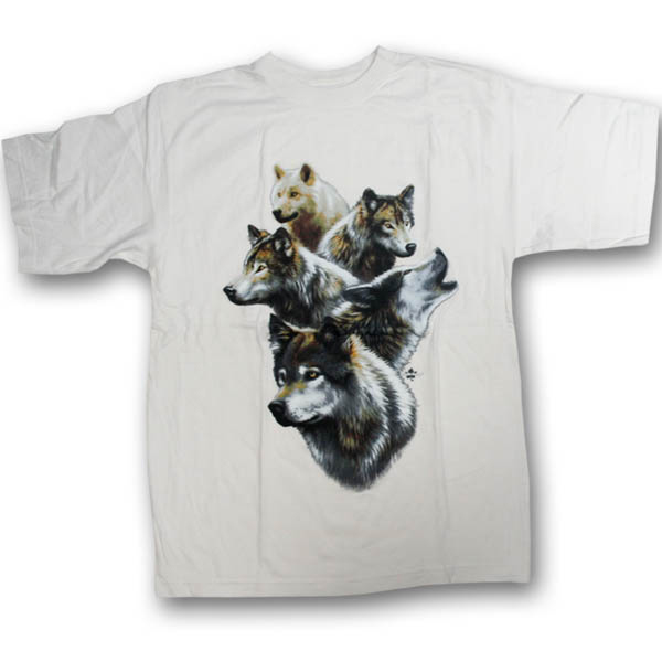 Wolf Collage Multi-color Print T-Shirt