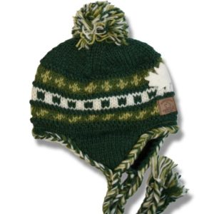 Adult Earflap Hat knitted w/PomPom