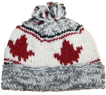 Adult Roll up Tuque w/pompom Maple Leaf Cardinal Red w/lt grey m