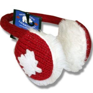 Ear muffs Red with white Maple Leaf