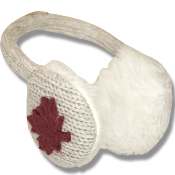 Ear muffs beige w/Red Maple Leaf