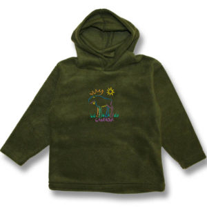 Moose Multi-color Embroidery Kids Polar Fleece Pull-over Hood
