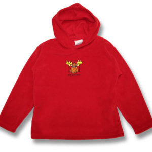 Moose Applique Embroidery Kids Polar Fleece Pull-over Hoodie