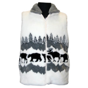 JASPER ANIMALS WHITE/BLACK ADULT FUN FUR VEST
