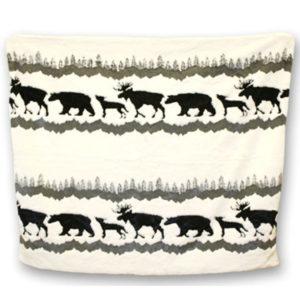 Jasper Animals Wht/Blk Fun Fur Blanket