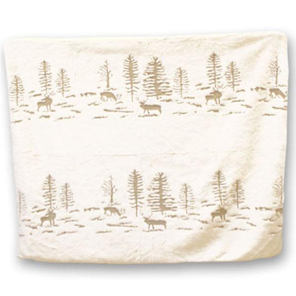 Deer and Trees Off White Fun Fur Blanket