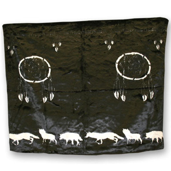 Dream Catcher Blk/Grey Fun Fur Blanket