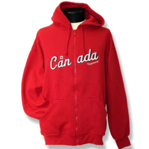 Canada with Flag Emboidery Adult Fleece Zip-front Hoodie