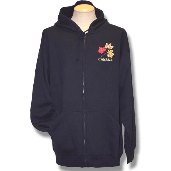 3 Maple Leaves Canada Emboidery Adult Fleece Zip-front Hoodie