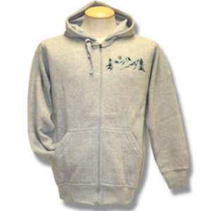Mountains, Trees and Sun Embroidery Adult Fleece Zip-front Ho