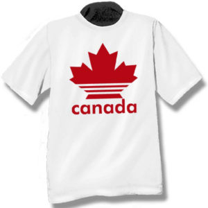 Canada Multi-stripe Maple LeafScreen Print T-Shirt