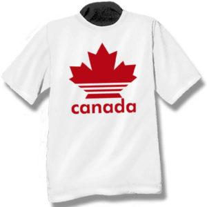 Canada Multi-stripe Maple LeafScreen Print T-Shirt