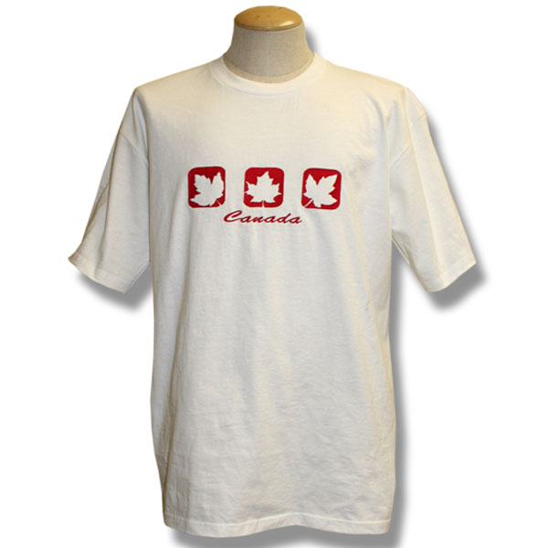 Three Cut-out Maple LeavesEmbroidery T-Shirt