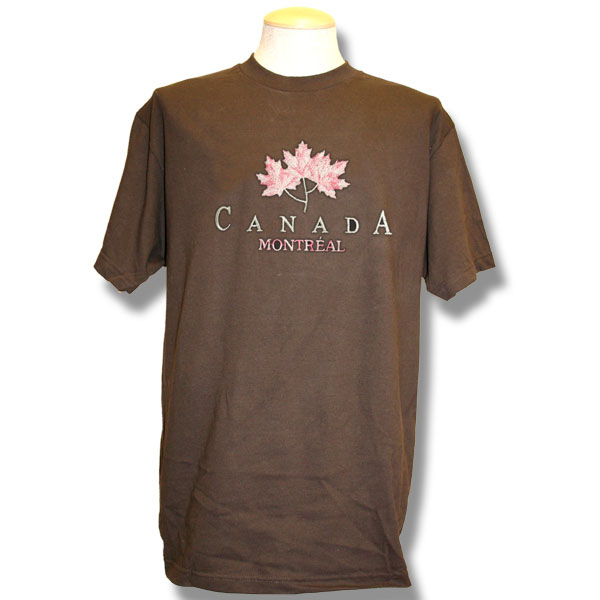 Three Metallic Maple LeavesEmbroidery T-Shirt