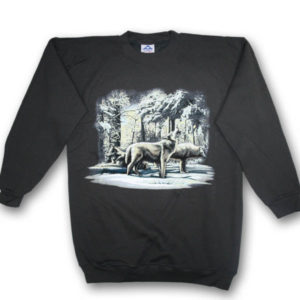 Wolf Pack Winter Scene Print Sweatshirt