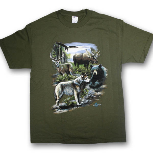 North American Wildlife Collage Multi-color Print T-Shirt