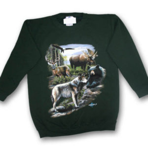 North American Wildlife Collage Multi-color Print Sweatshirt