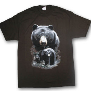 North American Black Bears Multi-color Print T-Shirt