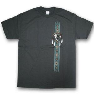 Dream Catcher Wolf Vertical Multi-color Print T-Shirt